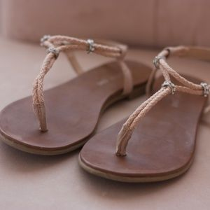 Blush T-Strap Sandals